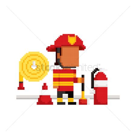 Fire extinguisher : Pixel art fire fighter