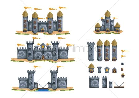 Towers : Pixelated castle structures set