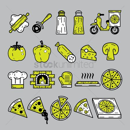 Pizza delivery : Pizza icons
