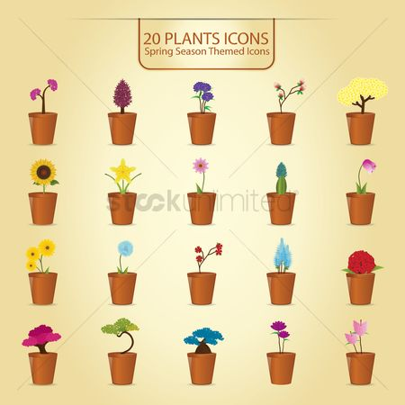 Flower pot : Plant icon set
