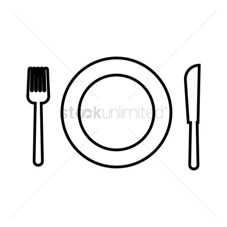 Language : Plate setting with fork and knife