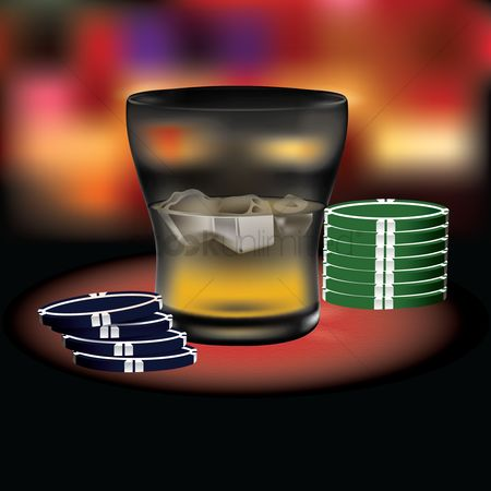 Poker chips : Poker chips with a glass
