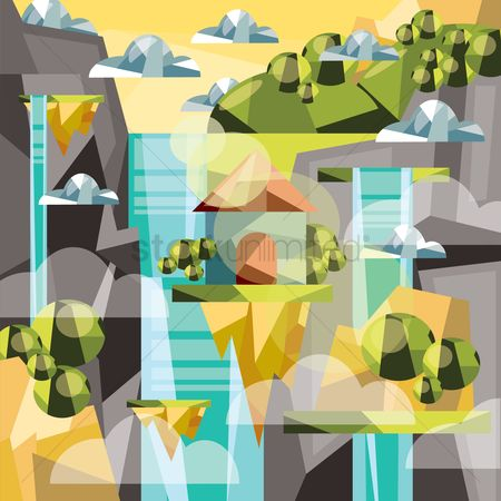 Fresh : Polygonal waterfall landscape
