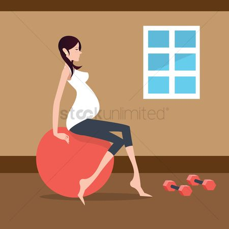 Indoor : Pregnant woman exercising with exercise ball
