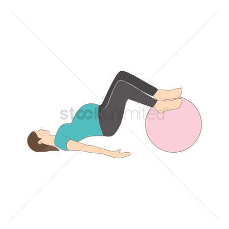 Strength exercise : Pregnant woman exercising with gym ball