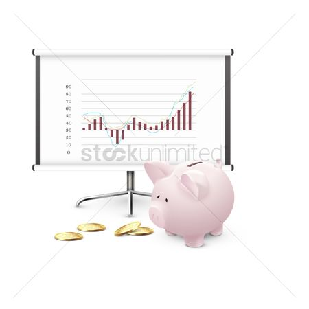 Piggy banks : Presentation board with piggy bank