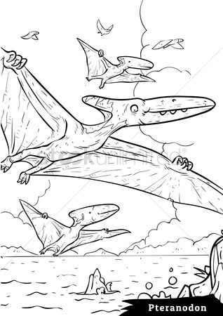 Colorings : Pteranodon with hatchlings