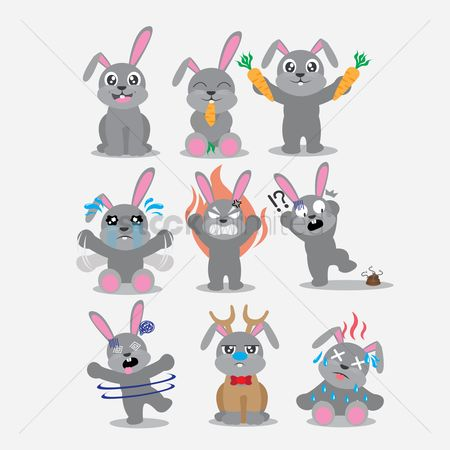 Eat : Rabbit character with different actions