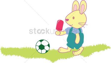 Grass : Rabbit with an ice cream playing football