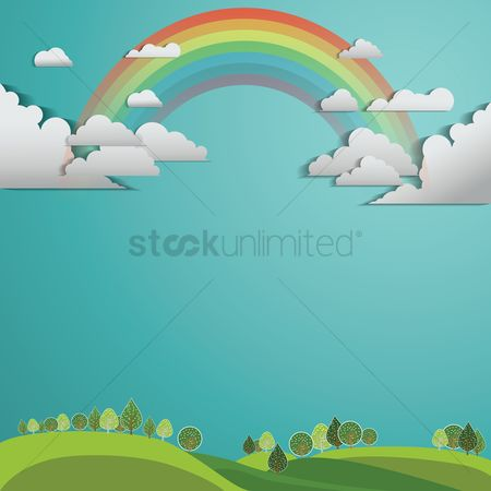 Cutout : Rainbow and clouds