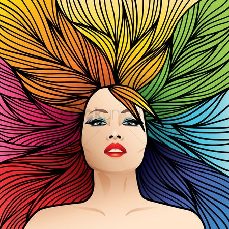 Lady : Rainbow colored hairstyle