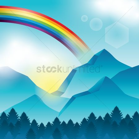 Hills : Rainbow with mountains