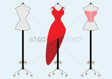 Dresses : Red dress and corset on mannequins