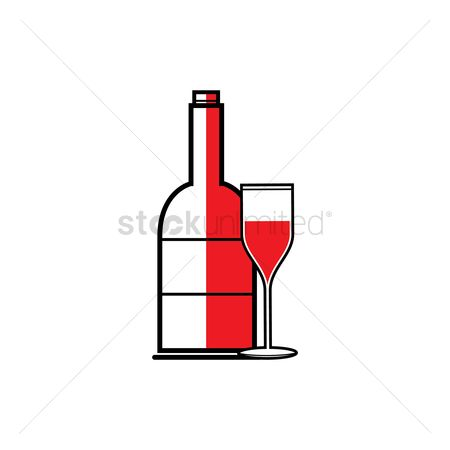 Red wines : Red wine glass with bottle