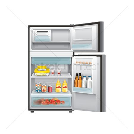 Appliance : Refrigerator with food items