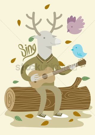 Logs : Reindeer with guitar