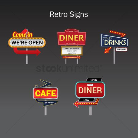 Open : Retro signs