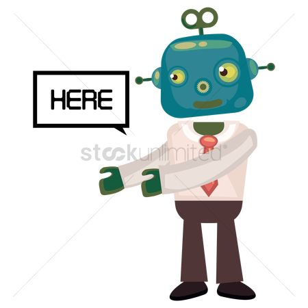 Mechanicals : Robot businessman indicating here