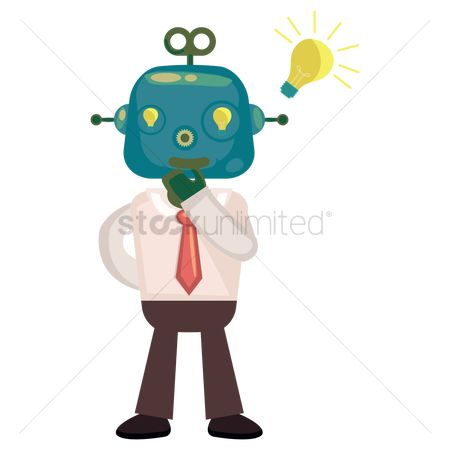 Mechanicals : Robot businessman with a light bulb