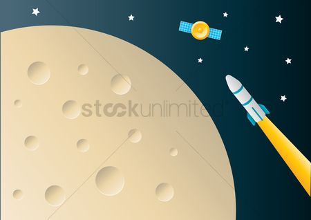 Spaceships : Rocket flying in space