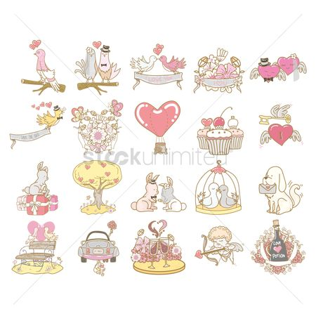 Weddings : Romantic love icons