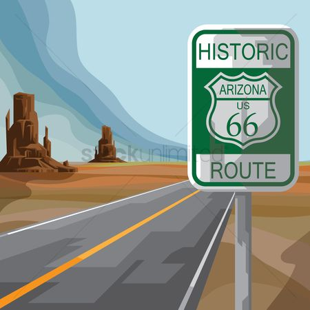 United states : Route sixty-six sign board