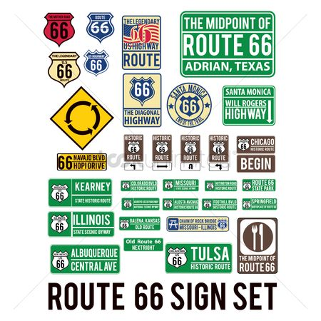 Kansas : Route sixty-six sign set