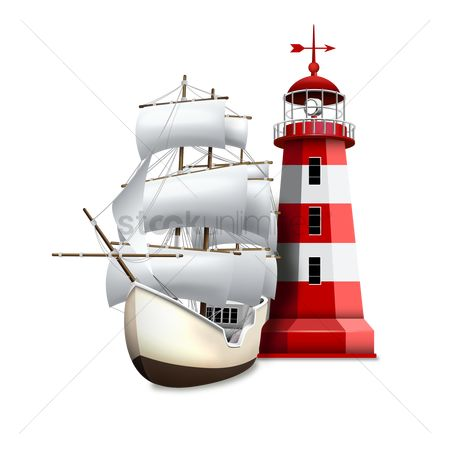 Sail : Sailboat and lighthouse