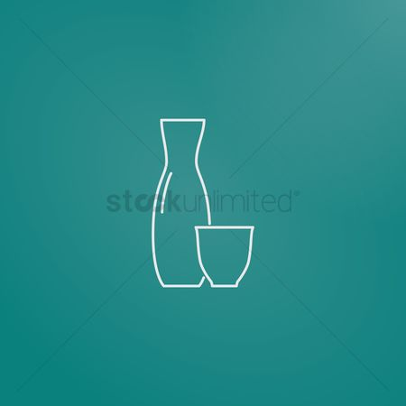 Crockery : Sake bottle and cup