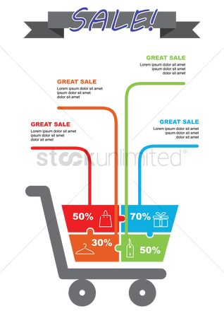 Shopping cart : Sale infographic