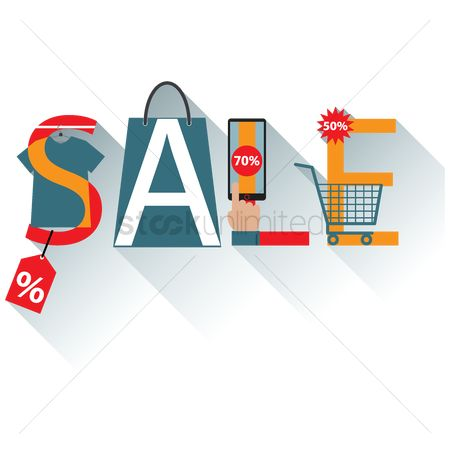 Shopping cart : Sale lettering design