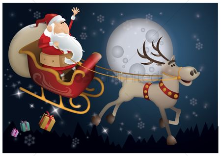 Moon : Santa claus riding sleigh