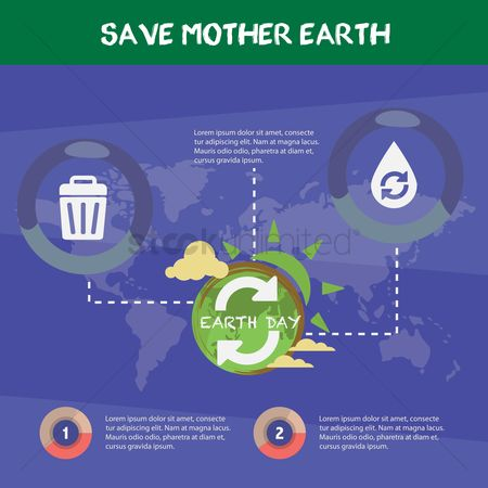 Recycle bin : Save mother earth infographic