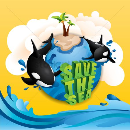Save trees : Save the sea concept