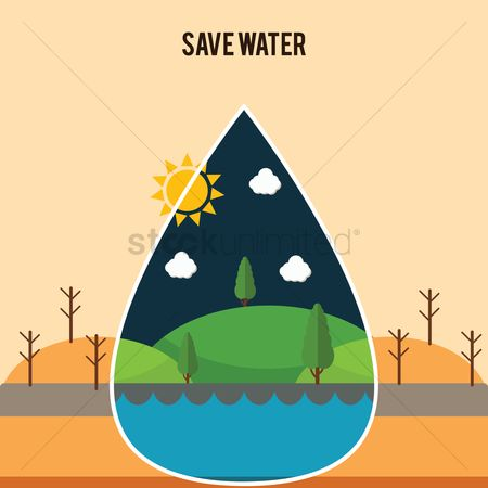 Pollution : Save water concept