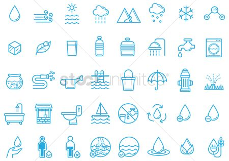 Washing machine : Save water icons