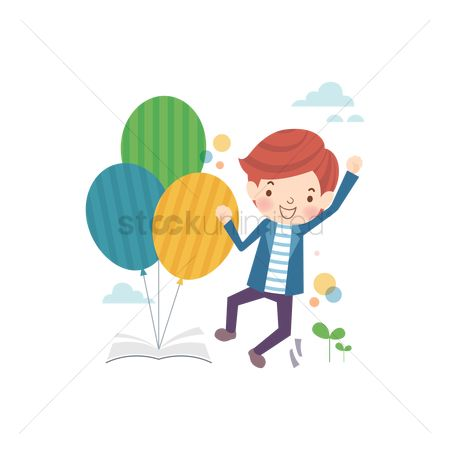 School children : School boy with balloons in a book