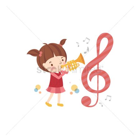 School children : School girl blowing her trumpet