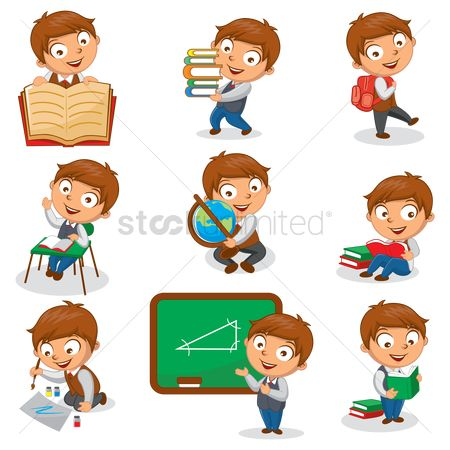 Blackboard : Schoolboy and different activities
