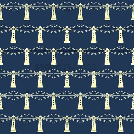 Nautical : Seamless lighthouse background