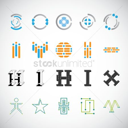 Graphic : Set of abstract logo elements