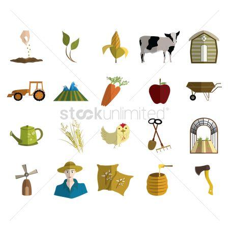 Hatchet : Set of agricultural icons
