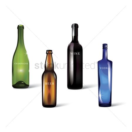 Champagnes : Set of alcohol bottles