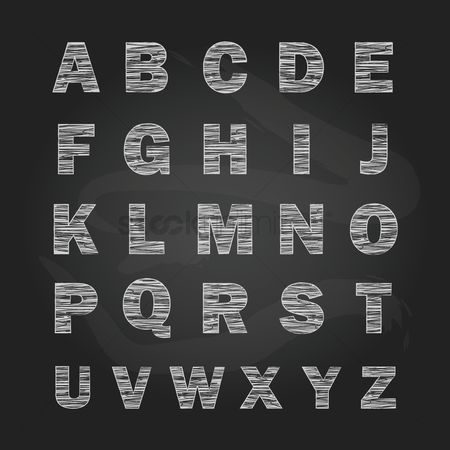 Blackboard : Set of alphabets