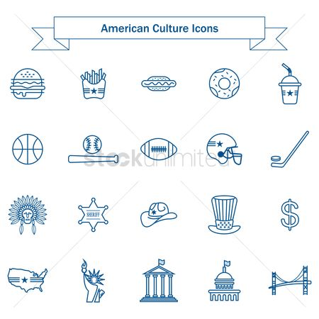 Doughnut : Set of american culture icons