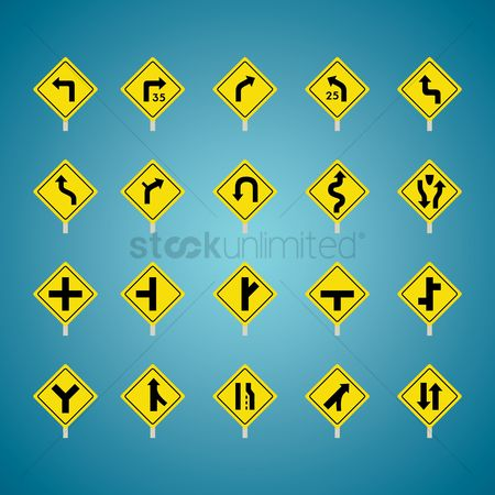 Warnings : Set of american road sign icons