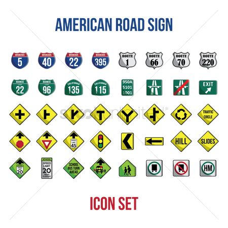 Signages : Set of american road signs