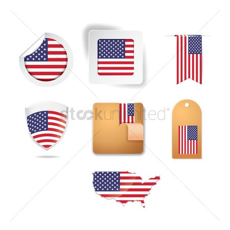 Usa map : Set of american stickers