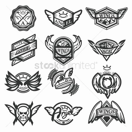 Devils : Set of angel emblems
