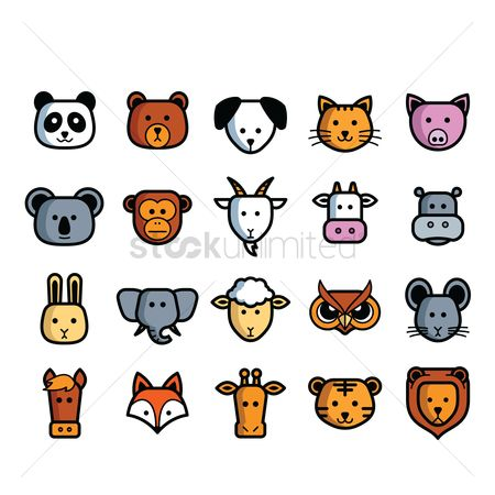 Sets : Set of animals heads